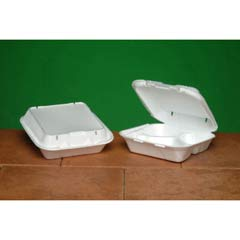 Snap-It Vented Foam Hinged Container, 3-Comp, White, 8 1/4x8x3, 100/Bag GNPSN243V