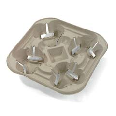 StrongHolder Molded Fiber Cup Tray, 8-22oz, Four Cups HUH20939
