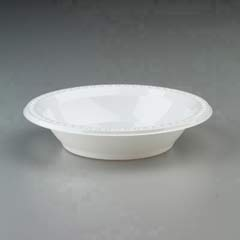 Plastic Bowls, 32 Ounces, White, Round, Heavyweight, 125/Pack HUH81232