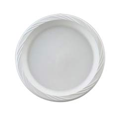 Plastic Plates, 10 1/4 Inches, White, Round, Lightweight, 125/Pack HUH82210