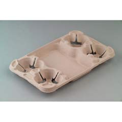 StrongHolder Molded Fiber Cup Tray, 8-44oz, Two Cups HUHFLUID