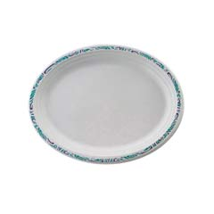 Classic Paper Platters, 9 3/4 x 12 1/2, White with Festival Rim, Oval, 125/Pack HUHPOTENT