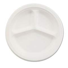 Paper Dinnerware, 3-Compartment Plate, 10-1/4