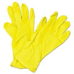 Flock Lined Latex Gloves, Yellow, 12 in Length, Medium, Dozen IMP8449M