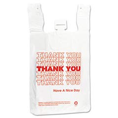 T-Shirt Thank You Bag, 12 x 7 x 13, 12.5 Micron, White, 500/Case IBSTHW2VAL