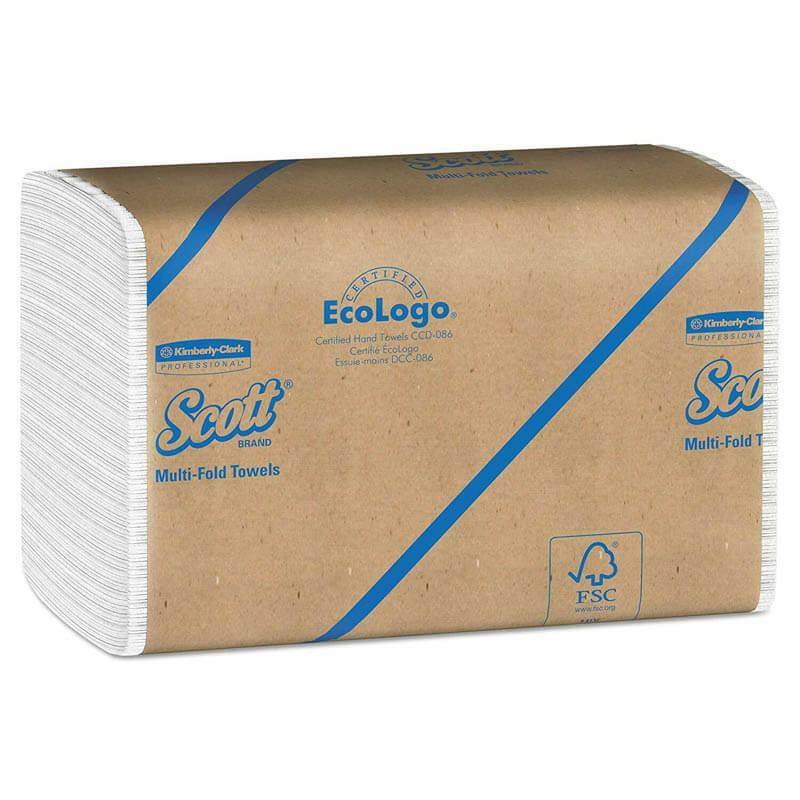 SCOTT Multifold Paper Towels, 9 1/5 x 9 2/5, White KCC01840
