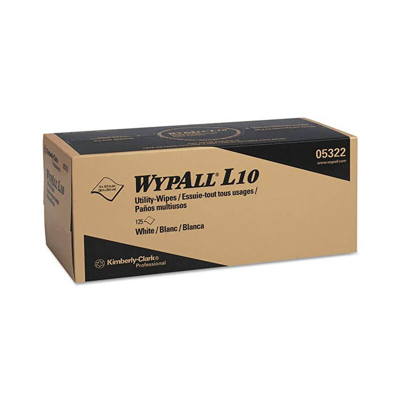 WYPALL L10 Utility Wipes, Box, 12 x 10 1/2, White, 125/Box KCC05322