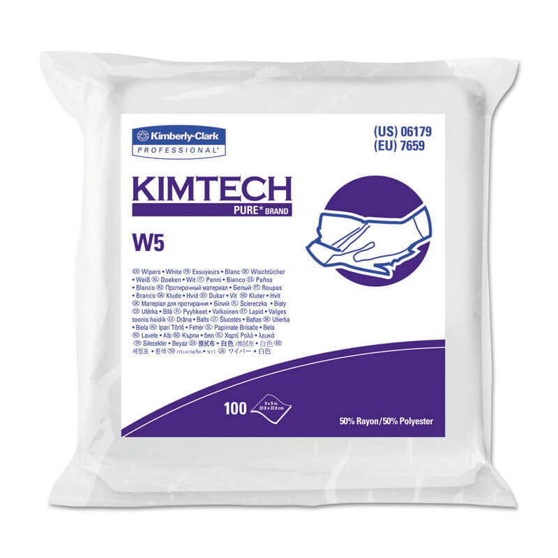 KIMTECH PURE W5 Dry Wipers, Flat, 9 x 9, White, 100/Pack KCC06179