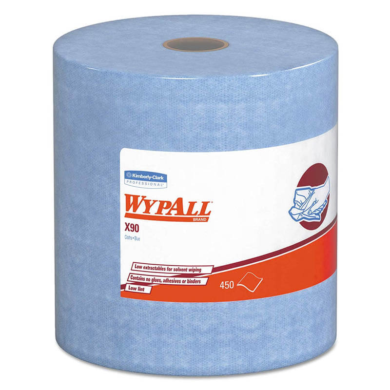 WYPALL X90 Cloths, Industrial, 11 1/10 x 13 2/5, White, 450/Roll KCC12889
