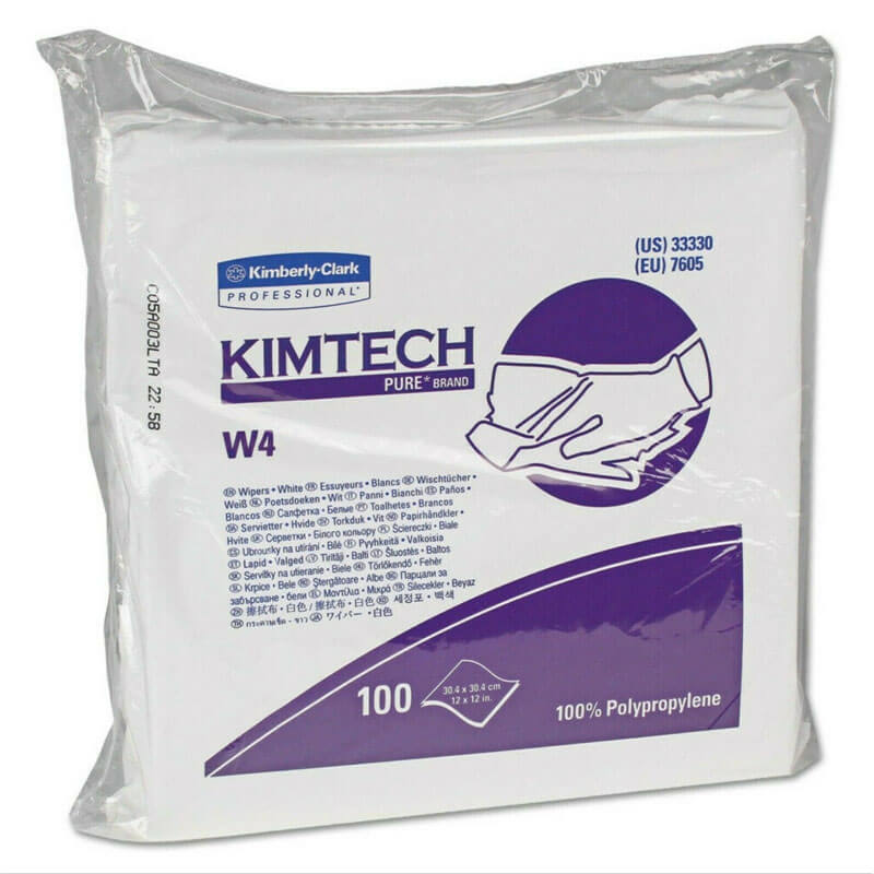 KIMTECH PURE W4 Dry Wipers, Flat, 12 x 12, White, 100/Pack KCC33330