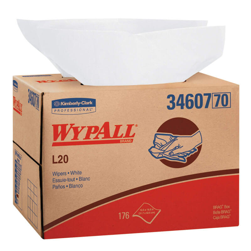 WYPALL L20 Wipers, BRAG Box, 12 1/2 x 16 4/5, Four-Ply, White, 176/Box KCC34607