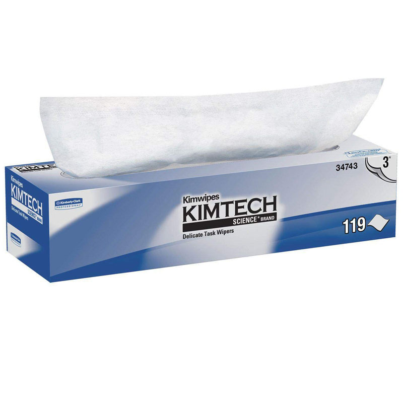 KIMTECH SCIENCE KIMWIPES Delicate Task Wipers, Two-Ply, 11 4/5 x 11 4/5, 119/Box KCC34705