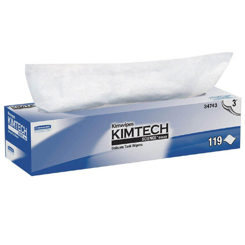 KIMTECH SCIENCE KIMWIPES Delicate Task Wipers, 3-Ply, 11 4/5 x 11 4/5, 119/Box KCC34743