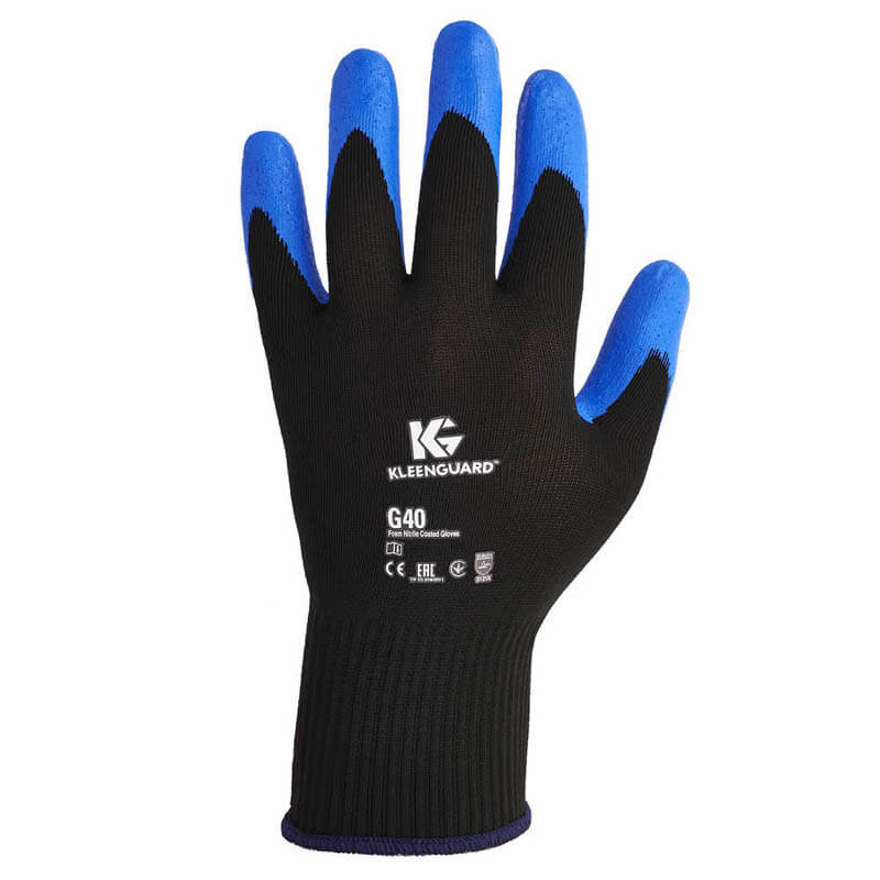 KLEENGUARD G40 Foam Coated Nitrile/Nylon Gloves, X-Large/#10, PE, Pair KCC40228