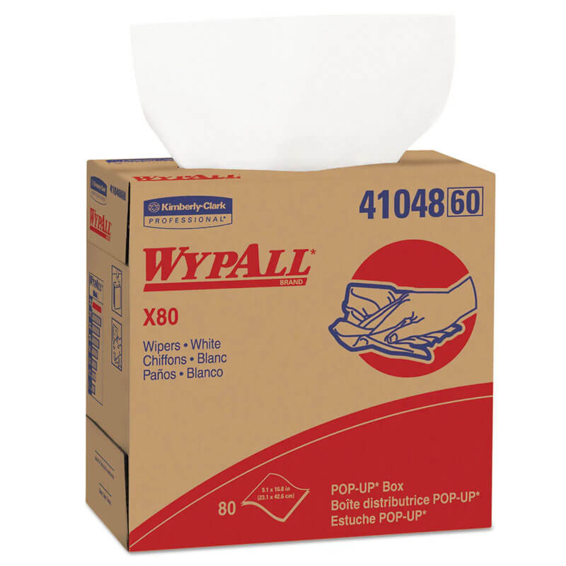 WYPALL X80 Wipers, 9 1/10 x 16 4/5, White, POP-UP Box KCC41048