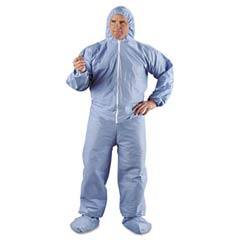 KLEENGUARD A65 Hood & Boot Flame-Resistant Coveralls, Blue, 4XL KCC45357