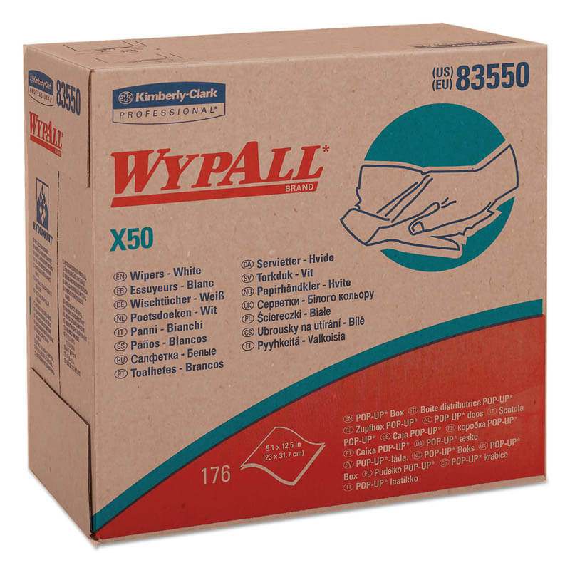 WYPALL X50 Wipers, 9 1/10 x 12 1/2, White, Pop-Up Box KCC83550