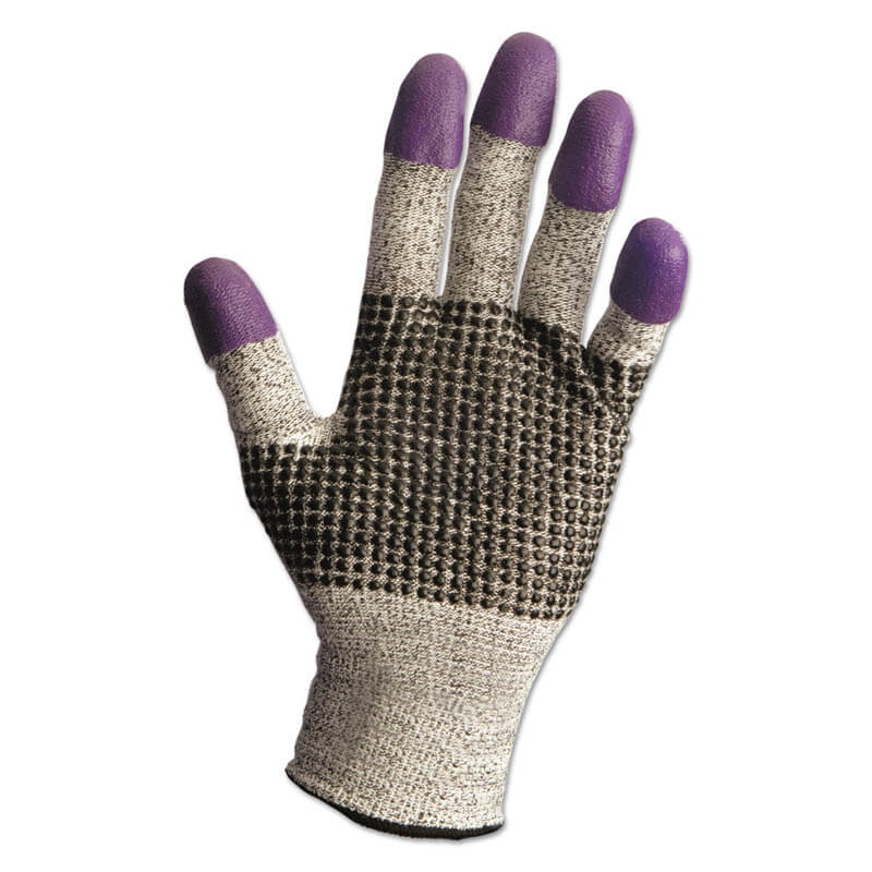 JACKSON SAFETY G60 Purple Nitrile Gloves, Medium/Size 8, Black/White KCC97431