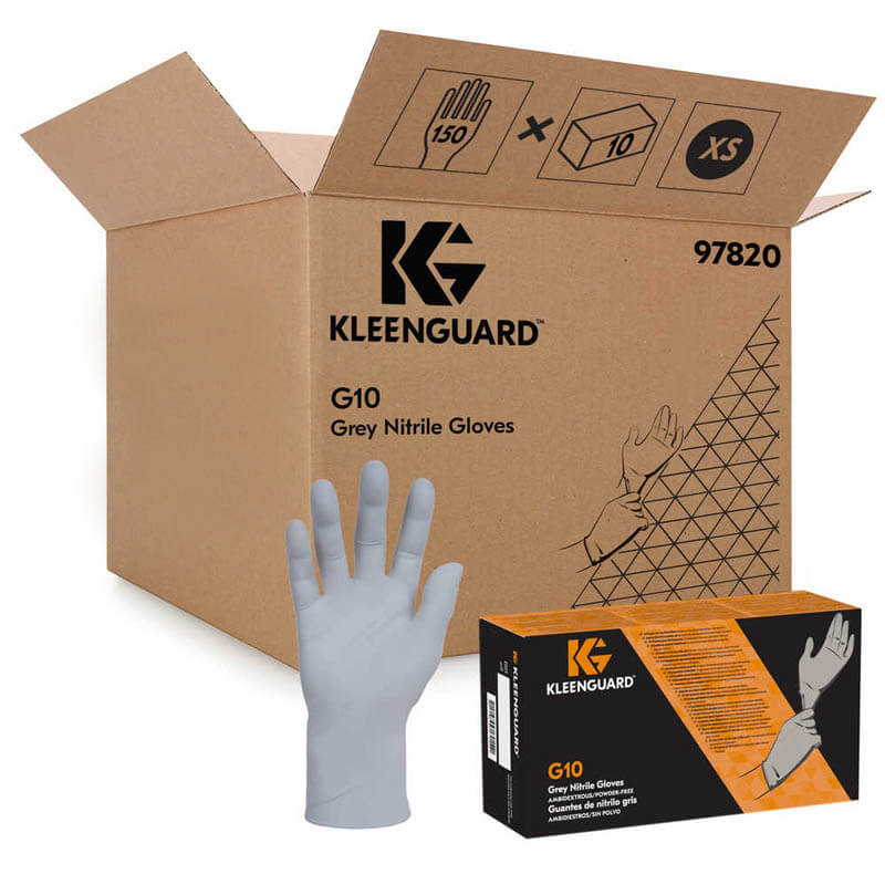 KLEENGUARD G10 Gray Nitrile Gloves, Large, 150/Pack KCC97823