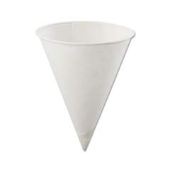 Poly-Bag Rolled-Rim Paper Cone Cups, 4oz, White KCI4.0KBR