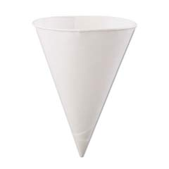 Rolled-Rim Paper Cone Cups, 6oz, White, 200/Bag KCI6.0KBR