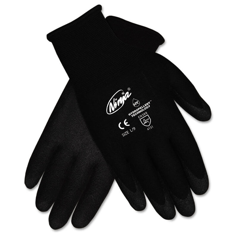 Ninja HPT PVC coated Nylon Gloves, Medium, Black MCRN9699M