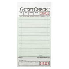 Guest Check Pad, w/Stub, 3-1/2 x 6-3/4, 1-Part Carbonless NTC525