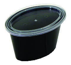 Ellipso Portion Cups, 1-Comp, Black/Clear, 4oz PACE504B