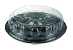 Round CaterWare Dome-Style Food Container Lids, 1-Comp, Clear, 16dia PACP4416
