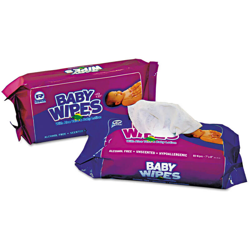 Baby Wipes Refill Pack, Unscented, White, 80/Pack RPPRPBWUR-80