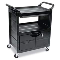 Utility Cart w/Locking Doors, 2-Shelf, 33-5/8w x 18-5/8d x 37-3/4h, Black RCP3457BLA