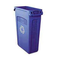 Rubbermaid [3540-07] Slim Jim Recycling Container w/Venting Channels, Plastic, 23 gal, Blue RCP3540-07BLU