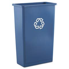 Slim Jim Recycling Container, Rectangular, Plastic, 23 gal, Blue RCP3540-74BLU