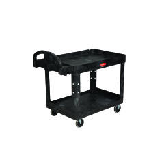 Heavy-Duty Utility Cart, 500-lb Cap., 2 Shelves, Black RCP4520-10BLA