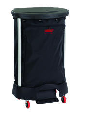 Rubbermaid [6300] Step-On Linen Hamper, 20 3/8w x 22 1/4d x 37 7/8h, Plastic/Aluminum, Black RCP6300BLA