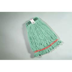 Web Foot Wet Mop Heads, Shrinkless, Cotton/Synthetic, Green, Medium RCPA212GRE