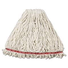 Web Foot Wet Mop Heads, Shrinkless, Cotton/Synthetic, White, Large RCPA213WHI