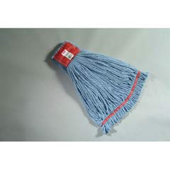 Web Foot Wet Mop Heads, Shrinkless, Cotton/Synthetic, Blue, Large RCPA253BLU