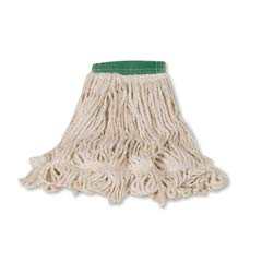 Super Stitch Looped-End Wet Mop Head, Cotton/Synthetic, Medium, Green/White RCPD252WHI
