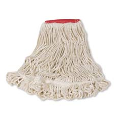 Super Stitch Looped-End Wet Mop Head, Cotton/Synthetic, Large, Red/White RCPD253WHI