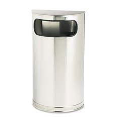 Rubbermaid [SO8SSSPL] European & Metallic Series Receptacle, Half-Round, 9 gal, Satin Stainless RCPSO8SSSPL