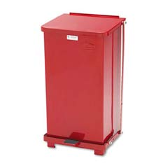 Defenders Square Biohazard Step Can, Red Steel - 12 Gallon RCPST12EPLRED