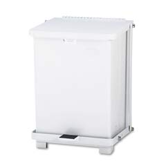 Defenders Biohazard Step Can, Square, Steel, 7 gal, White RCPST7EPLWHI