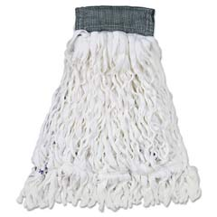Clean Room Mop Heads, Rayon, Looped-End, White, Medium RCPT300