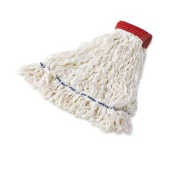 Clean Room Mop Heads, Rayon, Looped-End, White, Large RCPT301