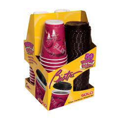 Bistro Hot/Cold Foam Cups with Lids, 12 oz., Maroon, 50/Pack SCCFSX12