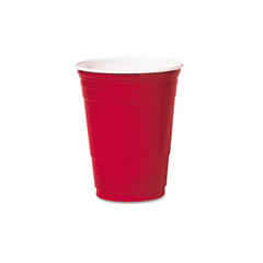 Plastic Party Cold Cups, Red - (1000) 16 oz. Cups SCCP16RLR