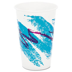 Jazz Waxed Paper Cold Cups, 16 oz, Tide Design SCCRW16J