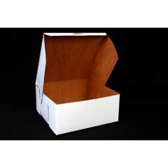 Tuck-Top Bakery Boxes, 9w x 9d x 4h, White SCH0961