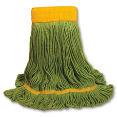 EcoMop Looped-End Mop Head, Recycled Fibers, Large Size, Green BWK1200L